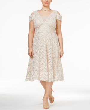 Vintage Inspired Cocktail Dresses, Party Dresses R  M Richards Plus Size Lace A-Line Dress $109.00 AT vintagedancer.com