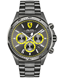 Ferrari Men's Chronograph Pilota Gray Ion-Plated Stainless Steel Bracelet Watch 45mm 0830391