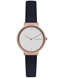 Skagen Women's Ancher Black Leather Strap Watch 30mm SKW2608