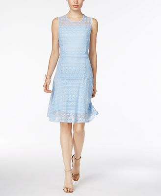NY Collection Mixed-Lace Illusion Fit & Flare Dress - Dresses - Women - Macy's