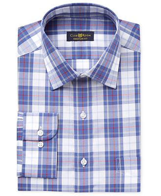 Club Room Men's Classic-Fit Wrinkle Resistant Navy Plaid Dress Shirt, Created for Macy's