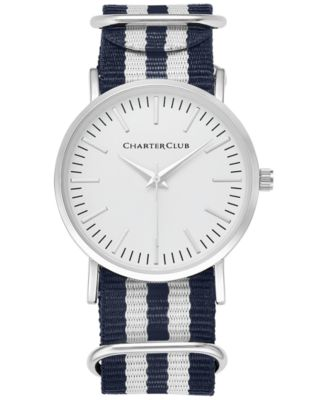 Image of Charter Club Women's Silver-Tone Striped Fabric-Strap Watch 36mm 17761, Only at Macy's