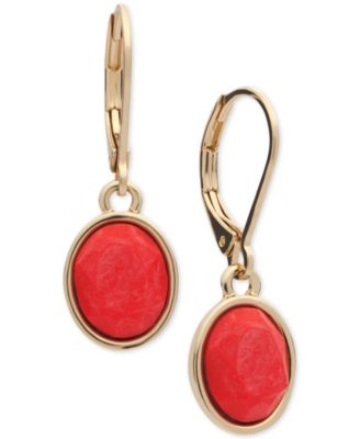 Image of Anne Klein Gold-Tone Faceted Stone Drop Earrings