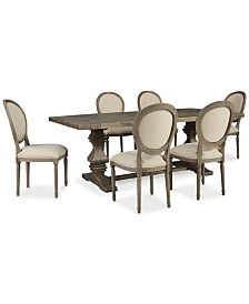 Tristan Trestle Dining Furniture, 7-Pc. Set (Trestle Dining Table & 6 Side Chairs), Created for Macy's
