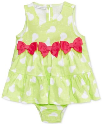 Image of First Impressions Pear-Print Cotton Skirted Romper, Baby Girls (0-24 months), Created for Macy's