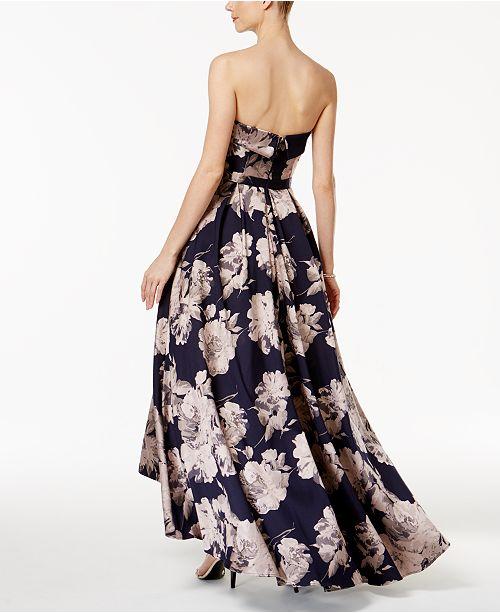b7948065 XSCAPE Floral-Print Brocade Strapless Gown & Reviews - Dresses ...