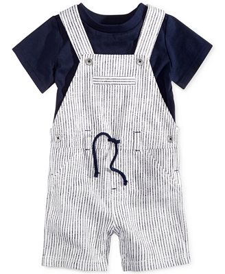 First Impressions 2-Pc. T-Shirt & Striped Shortall Set, Baby Boys (0-24 months), Only at Macy's