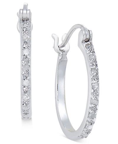Diamond Hoop Earrings (1/10 ct. t.w.) in Sterling Silver