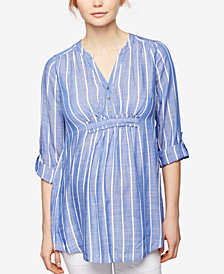A Pea in the Pod Maternity Striped Denim Tunic