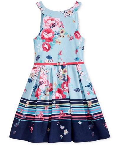 Beautees U-Neck Floral-Print Skater Dress, Big Girls (7-16)