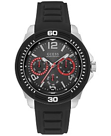 guess watches macy s guess men s black silicone strap watch 46mm u0967g1