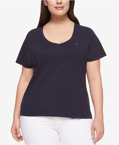 403704e05 Tommy Hilfiger Plus Size Cotton V-Neck T-Shirt & Reviews - Tops ...
