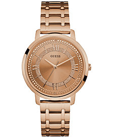 GUESS Women's Rose Gold-Tone Stainless Steel Bracelet Watch 40mm U0933L3