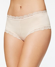 Organic Cotton Low-Rise Lace-Trim Boyshort 891281