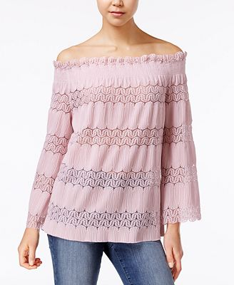 Say What? Juniors' Off-The-Shoulder Lace-Stripe Top