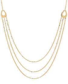 Italian Gold Multi-Layer Chain Necklace in 14k Gold