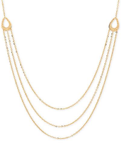 Italian Gold Multi Layer Chain Necklace In 14k Gold
