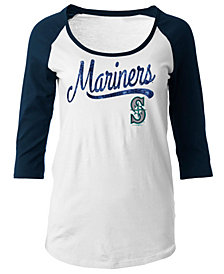 5th & Ocean Women's Seattle Mariners Sequin Raglan T-Shirt