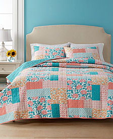 CLOSEOUT! Martha Stewart Collection Flower Patch  100% Cotton Reversible King Quilt, Created for Macy's