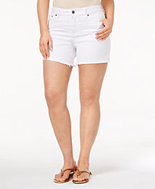 Rampage Trendy Plus Size Lace-Trim Denim Shorts
