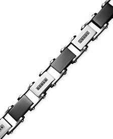 Men's Stainless Steel Bracelet, Black Diamond Link (1/2 ct. t.w.)