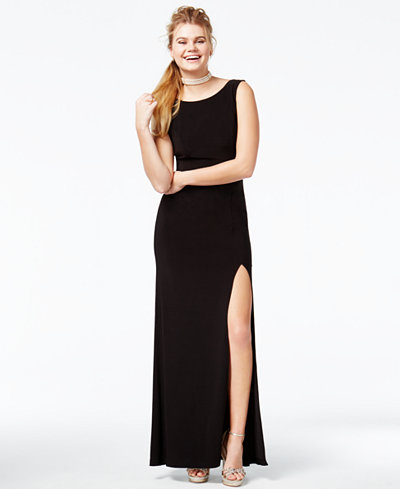 B Darlin Juniors' Embellished Low-Back Gown