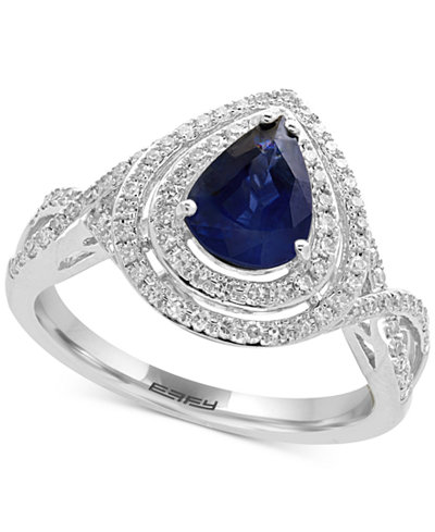 Royalé Bleu by EFFY® Sapphire (1 ct. t.w.) and Diamond (1/3 ct. t.w.) Ring in 14k White Gold