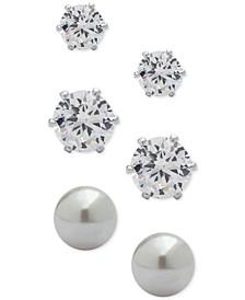 3-Pc. Set Crystal and Imitation Pearl Stud Earrings