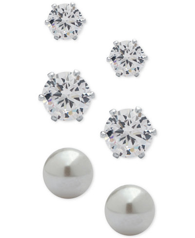 Anne Klein 3-Pc. Set Crystal and Imitation Pearl Stud Earrings