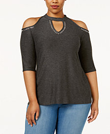 Belldini Plus Size Mock-Neck Cold-Shoulder Top