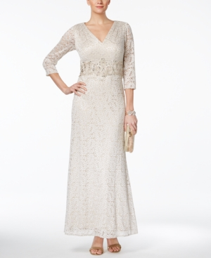 1940s Style Wedding Dresses and Accessories Alex Evenings Embellished Lace A-Line Gown $219.00 AT vintagedancer.com