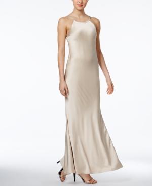 1930s Style Evening Dresses Calvin Klein Open-Back Satin Gown $118.99 AT vintagedancer.com