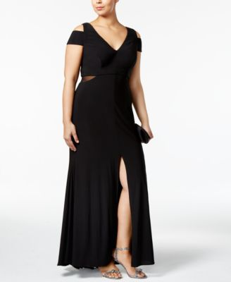 Xscape Plus Size Cold-Shoulder Gown