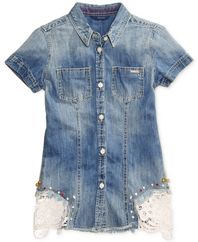 GUESS Lace-Trim Denim Button-Front Cotton Shirt, Big Girls (7-16)