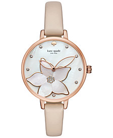 kate spade new york Women's Metro Vachetta Leather Strap Watch 34mm KSW1302