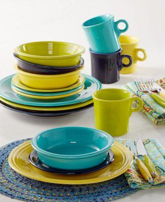 Fiesta Mixed Cool Colors 16-Piece Set Service for 4 Created for Macy\u0027s & Fiestaware Dishes Glasses Mugs \u0026 More - Macy\u0027s