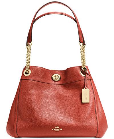 COACH Turnlock Edie Shoulder Bag in Pebble Leather - Handbags ...