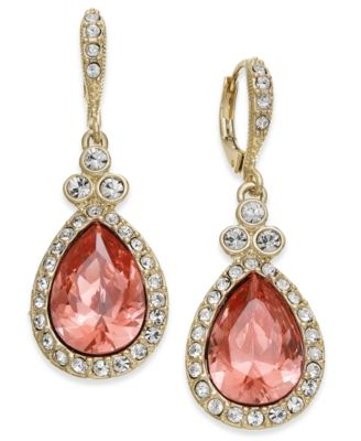 Image of Givenchy Gold-Tone Pavé & Pink Stone Drop Earrings