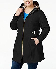 Via Spiga Plus Size Hooded Softshell Raincoat