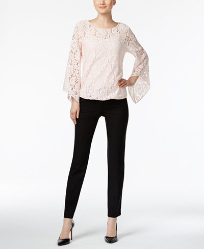 Alfani Lace Top & Cropped Pants, Created for Macy's