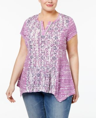 Style & Co Plus Size Mixed-Print Top, Only at Macy's