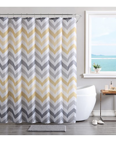 VCNY Chevron Bath Rug, Shower Curtain and Shower Hooks Set
