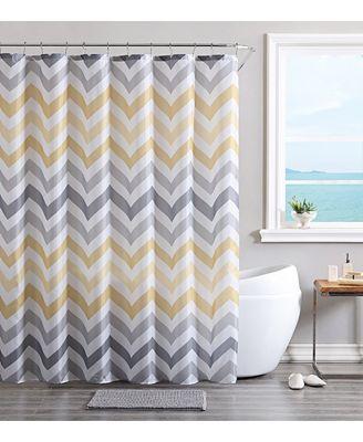 VCNY Chevron Bath Rug, Shower Curtain and Shower Hooks Set