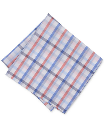 Bar III Men's Coral Blue Check Pocket Square, Created for Macy's