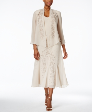 1930s Style Wedding Dresses | Art Deco Wedding Dress R  M Richards Sleeveless Beaded V-Neck Dress and Jacket $129.00 AT vintagedancer.com