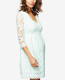 A Pea In The Pod Maternity Lace Fit & Flare Dress