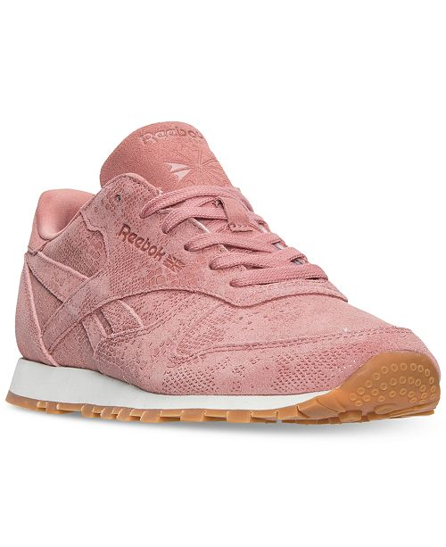 0031d4b5735aef ... Reebok Women s Classic Leather Exotic Casual Sneakers from Finish ...