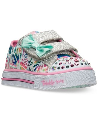 Girls Skechers Leather Nylon Black Sneakers For