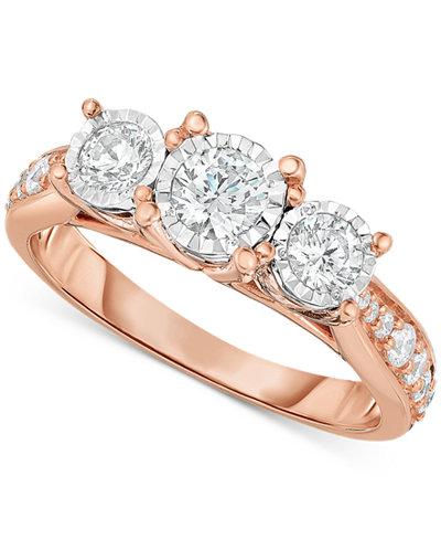 trumiracle diamond three stone ring 1 ct tw in 14k white - Macys Wedding Rings