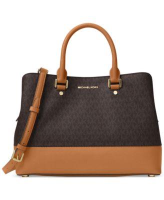 michael kors signature savannah large satchel handbags rh macys com